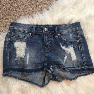 Silver Courtney Denim Distressed Shorts, Size 27